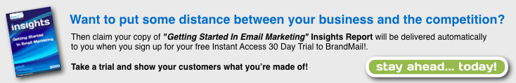 Email Marketing report from Brandmail with free instant access trial of the brandmail email marketing system